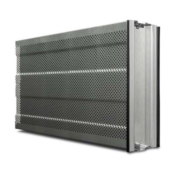 Das leichte Aluminium-Lärmschutz-Element aus rollgeformten Profilen bietet eine hervorragende Schalldämmung von mindestens 24 dB.