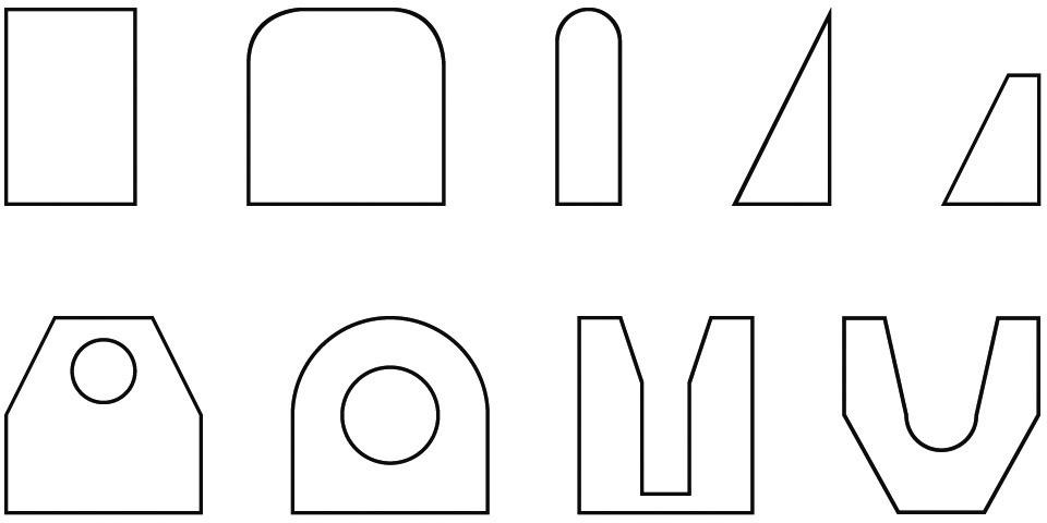 Beispiele für verschiedene gängige Nockenformen.