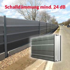 Das leichte Aluminium-Lärmschutz-Element bietet eine hervorragende Schalldämmung von mindestens 24 dB.